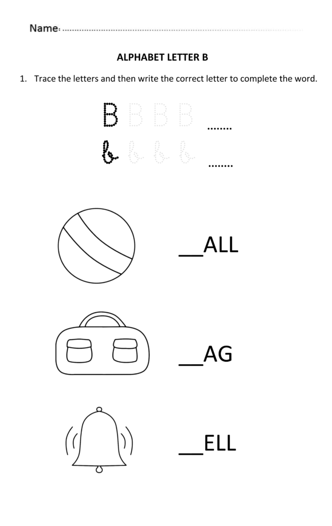 Learning And Writing Letter B For 5 And 6 Year Old Students In Alphabet Worksheets For 6 Year Olds