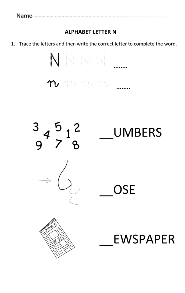 Learning And Writing Letter N For 5 And 6 Years Old Students In Alphabet Worksheets For 6 Year Olds