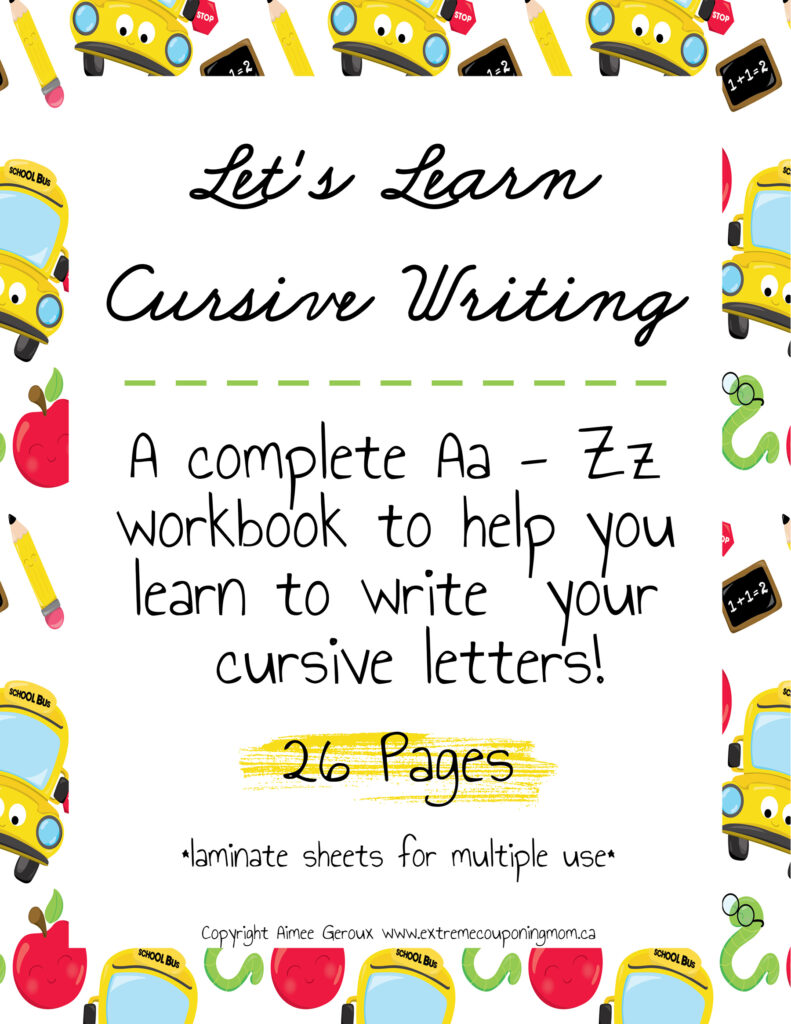 Learning Cursive Writing For Kids   Extreme Couponing Mom