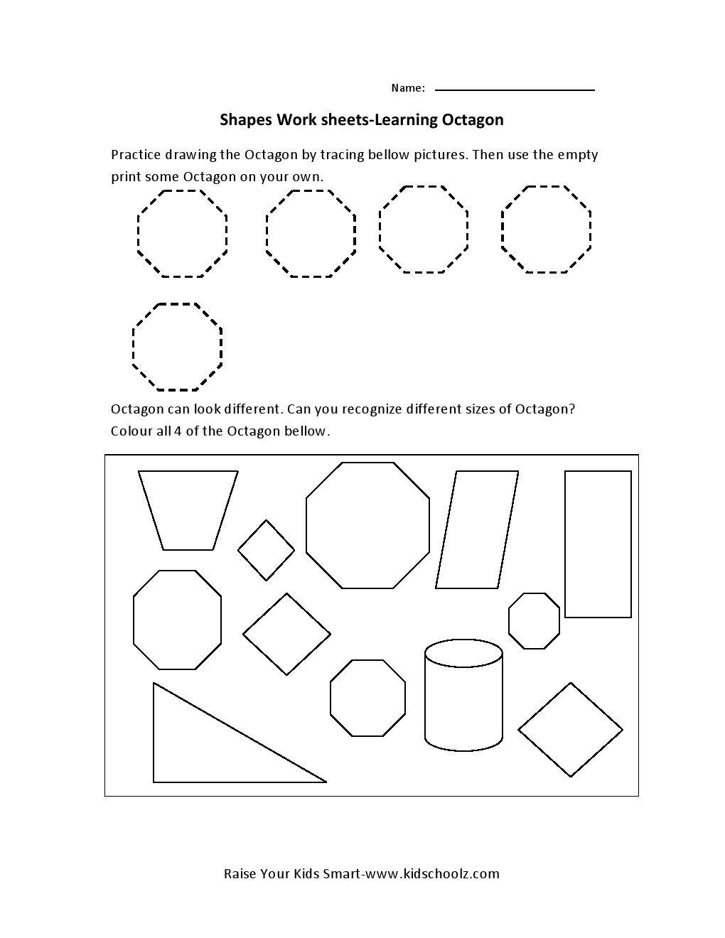 Learning Shapes Worksheets – Octagon | Preschool Worksheets