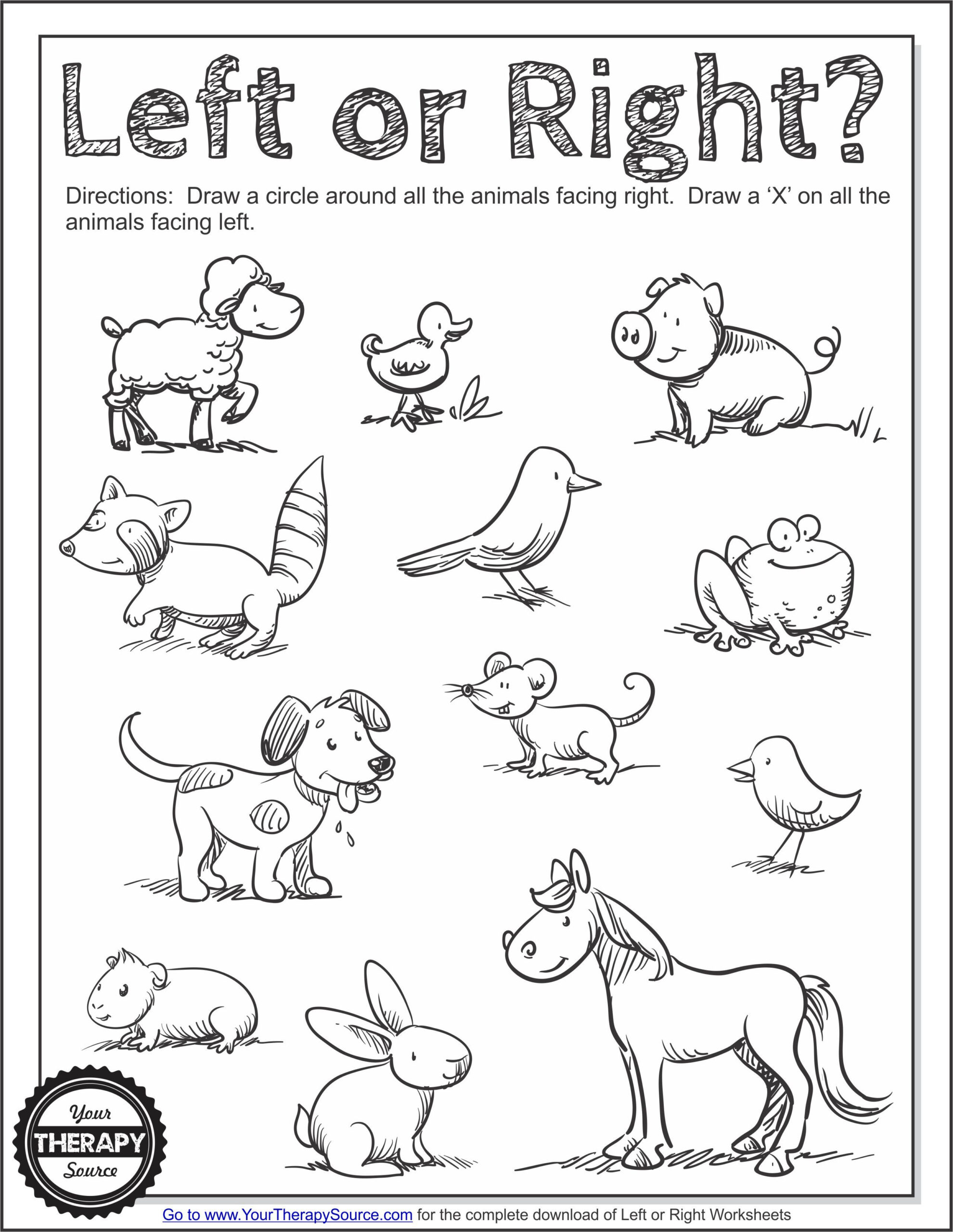 Left Or Right Worksheets - Laterality Directionality - Your