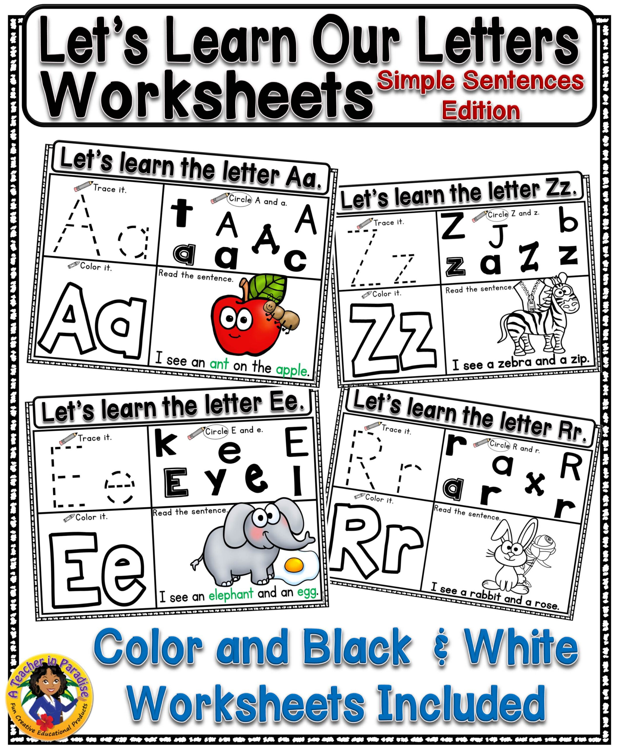 Let's Learn Our Letters {Simple Sentences Edition} | Simple regarding Alphabet Worksheets For Young Learners