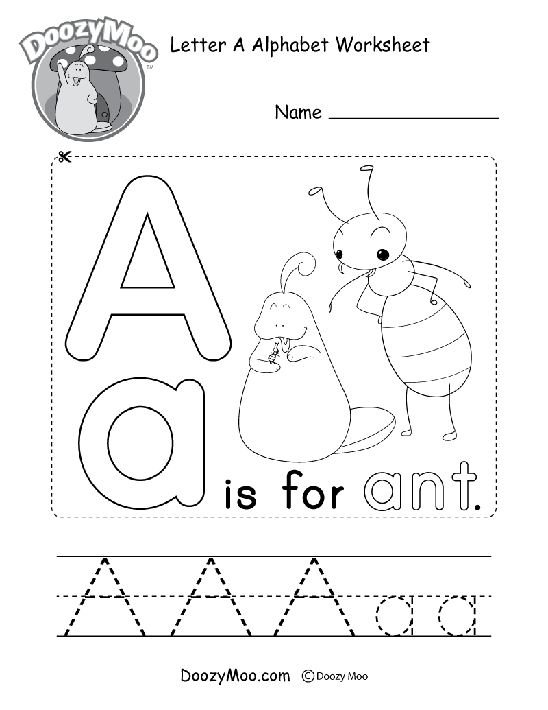 Letter A Alphabet Activity Worksheet - Doozy Moo with regard to Alphabet Worksheets Letter A