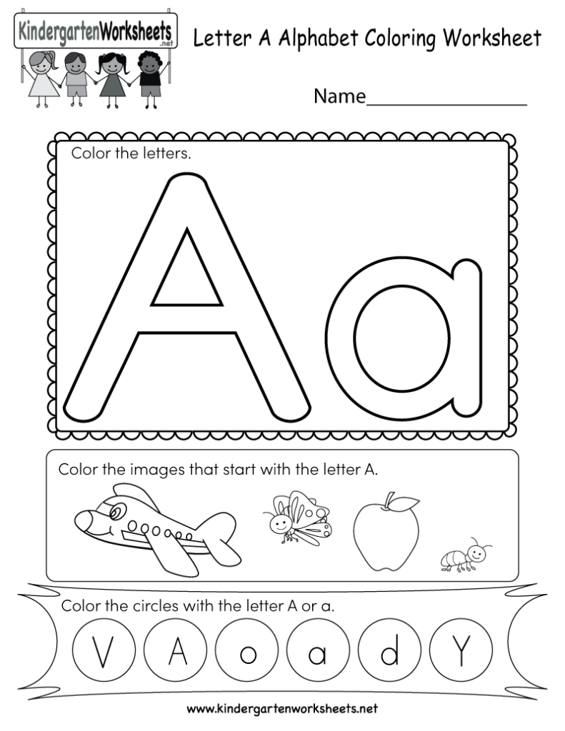 Letter A Coloring Worksheet   Free Kindergarten English Throughout Alphabet A Worksheets Free