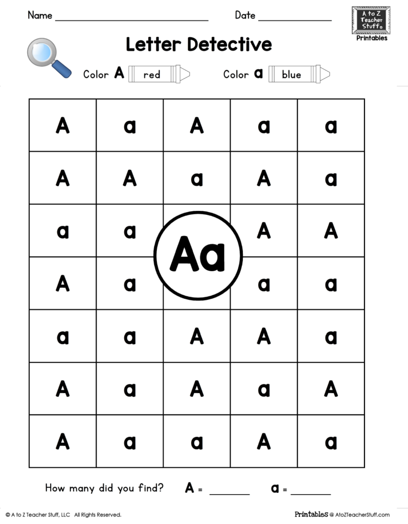 Letter A: Letter Detective Uppercase & Lowercase Visual Throughout A Letter Worksheets