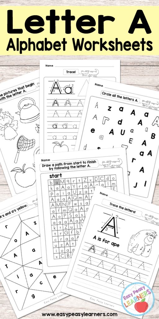 Letter A Worksheets   Alphabet Series   Easy Peasy Learners Inside Alphabet Worksheets Letter A