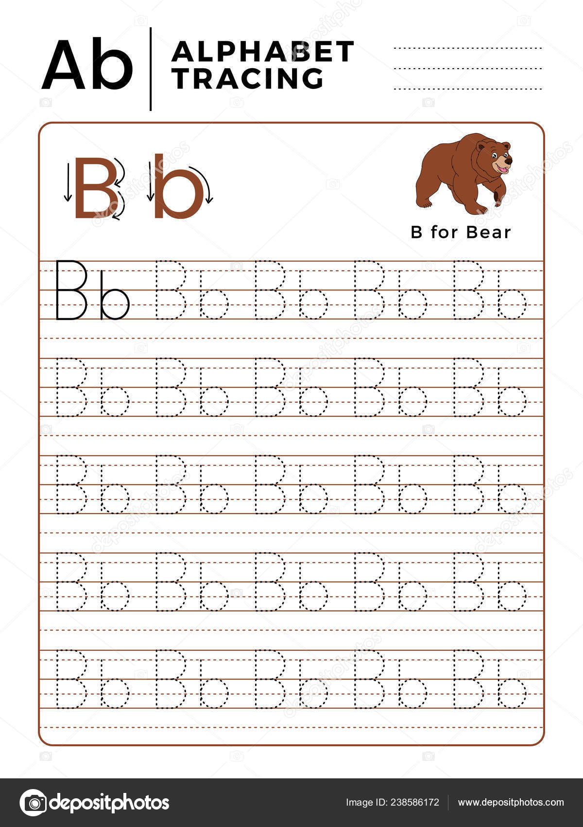 Letter B Alphabet Tracing Book With Example And Funny Bear Cartoon.  Preschool Worksheet For Practicing Fine Motor Skill. Vector Animal  Illustration for Alphabet Tracing Vectors