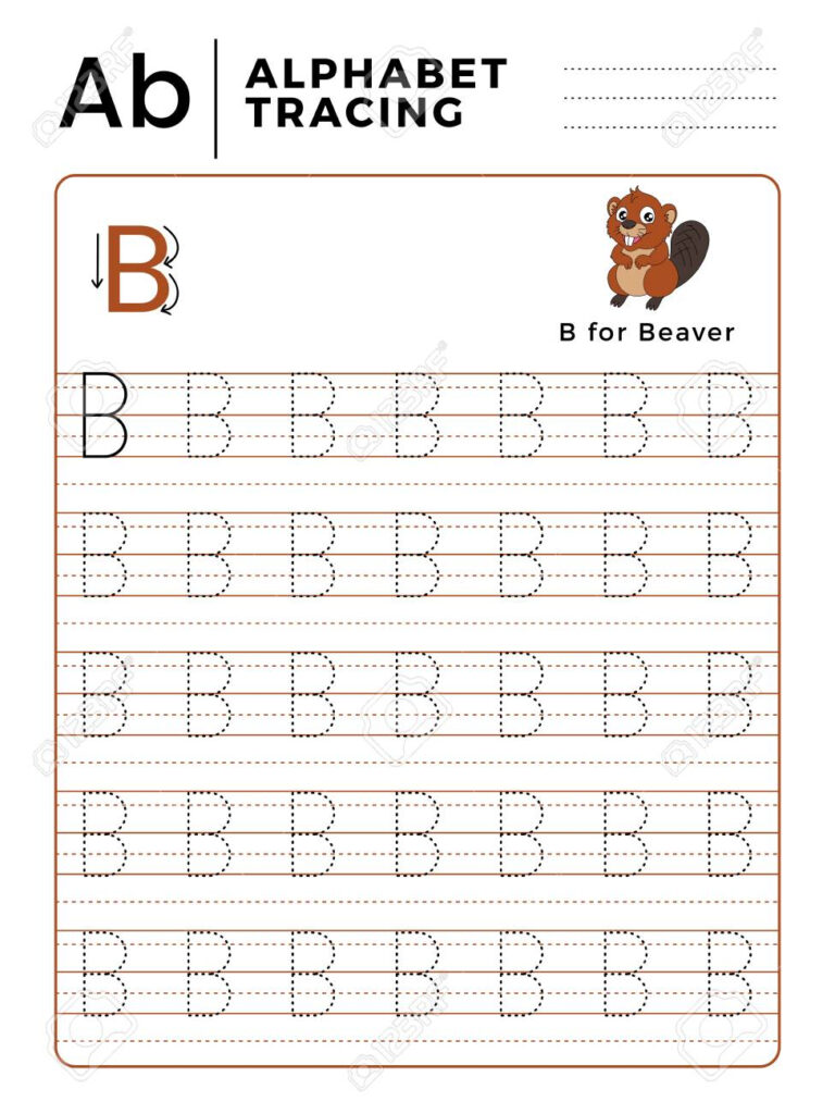 Letter B Alphabet Tracing Book With Example And Funny Beaver.. For B Letter Tracing Worksheet
