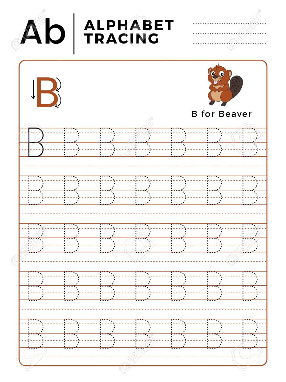 Letter B Alphabet Tracing Book With Example And Funny Beaver..
