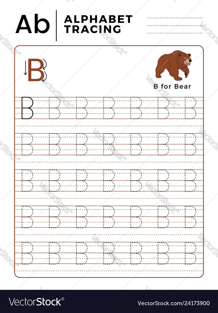 Letter B Alphabet Tracing Book With Example And with regard to B Letter Tracing Worksheet