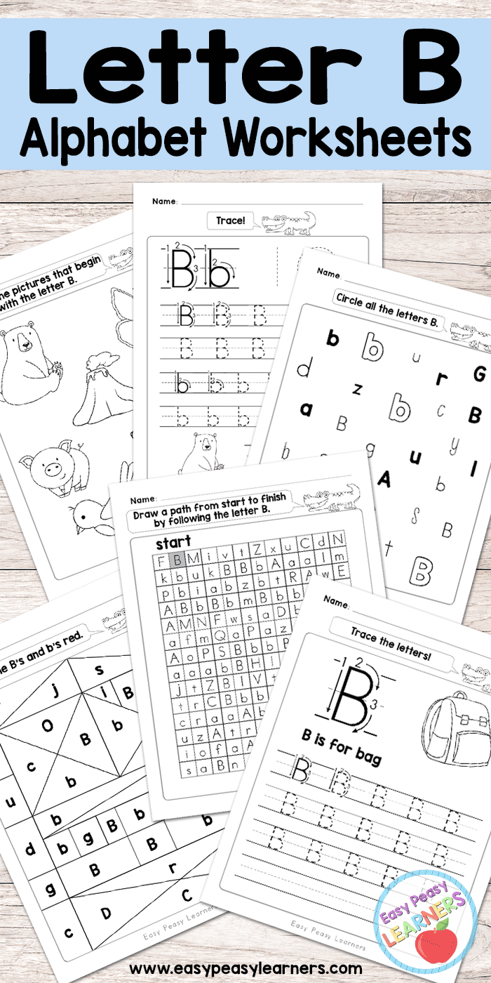 Letter B Worksheets - Alphabet Series - Easy Peasy Learners inside Letter B Tracing Worksheets Free