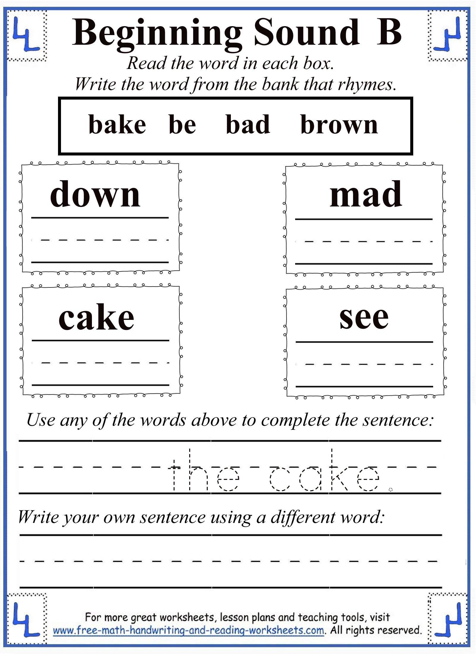 Letter B Worksheets with Letter B Worksheets For 1St Grade