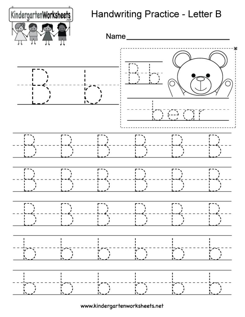 Letter B Writing Practice Worksheet   Free Kindergarten Inside B Letter Tracing Worksheet