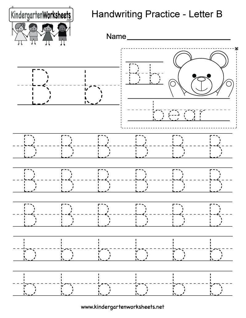 Letter B Writing Practice Worksheet - Free Kindergarten inside B Letter Tracing Worksheet