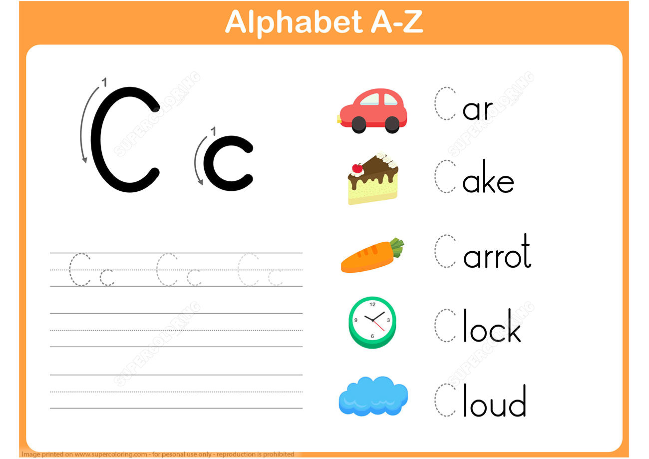 Letter C Tracing Worksheet | Free Printable Puzzle Games