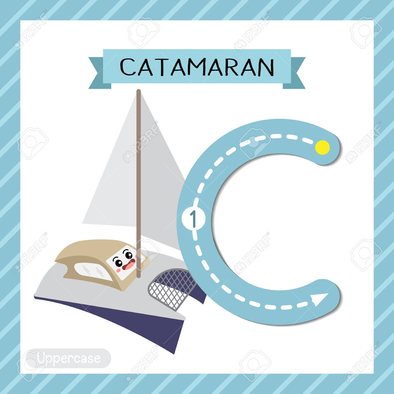 Letter C Uppercase Cute Children Colorful Transportations Abc.. in Alphabet Tracing Flashcards