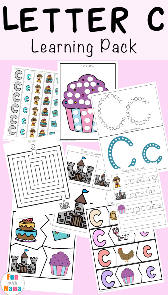 Letter C Worksheets And Printables Pack   Fun With Mama Intended For Letter C Worksheets For 3 Year Olds