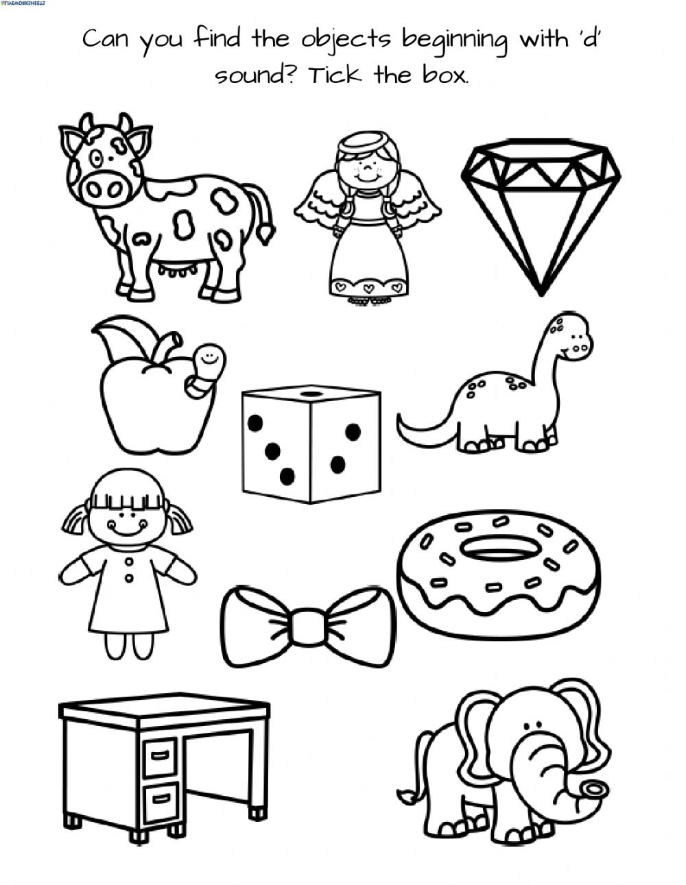 Letter D - 1 - Interactive Worksheet pertaining to Letter D Worksheets For Preschool