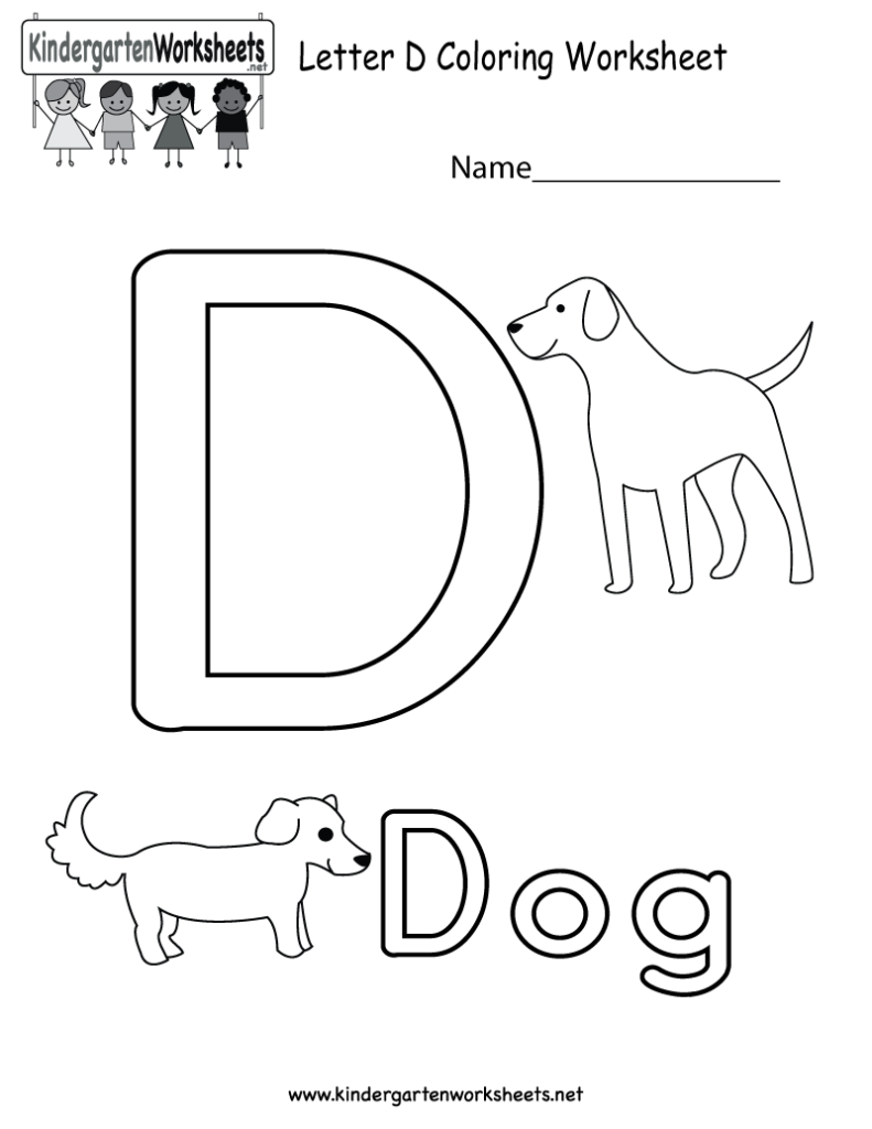 Letter D Coloring Worksheet For Kids In Preschool Or With Regard To Letter D Worksheets For Toddlers