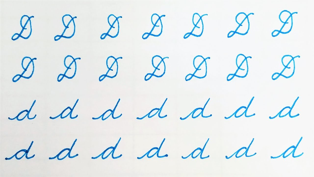 Letter D - Learn To Write Cursive Calligraphy Letter D