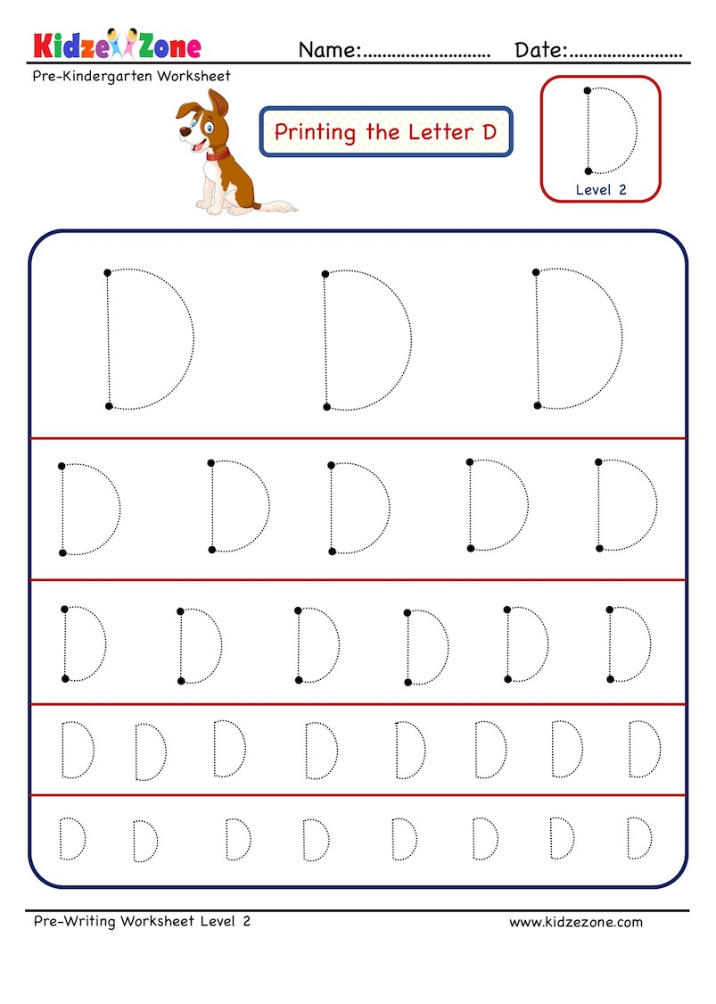 Letter D Tracing Worksheet - Different Sizes - Kidzezone in D Letter Tracing