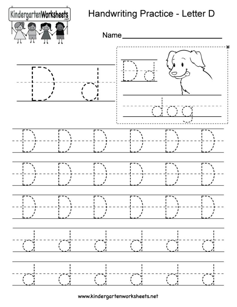 Letter D Writing Practice Worksheet   Free Kindergarten Inside D Letter Tracing