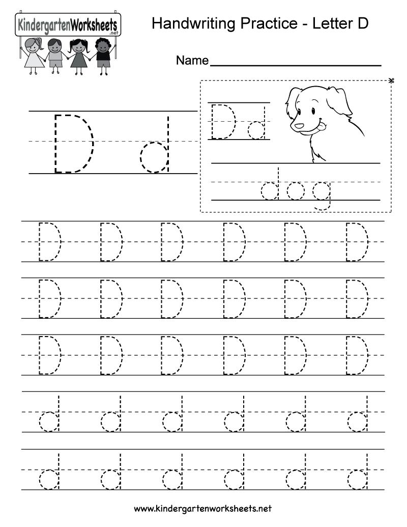 Letter D Writing Practice Worksheet - Free Kindergarten inside D Letter Tracing