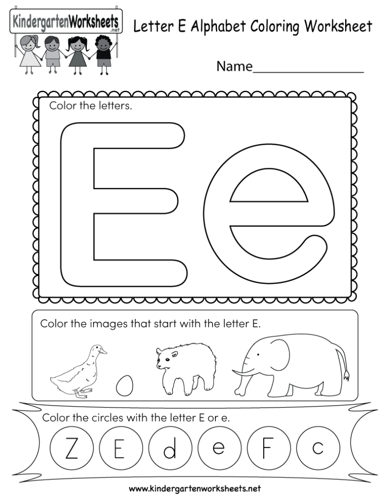 Letter E Coloring Worksheet   Free Kindergarten English Inside Letter E Worksheets Printable