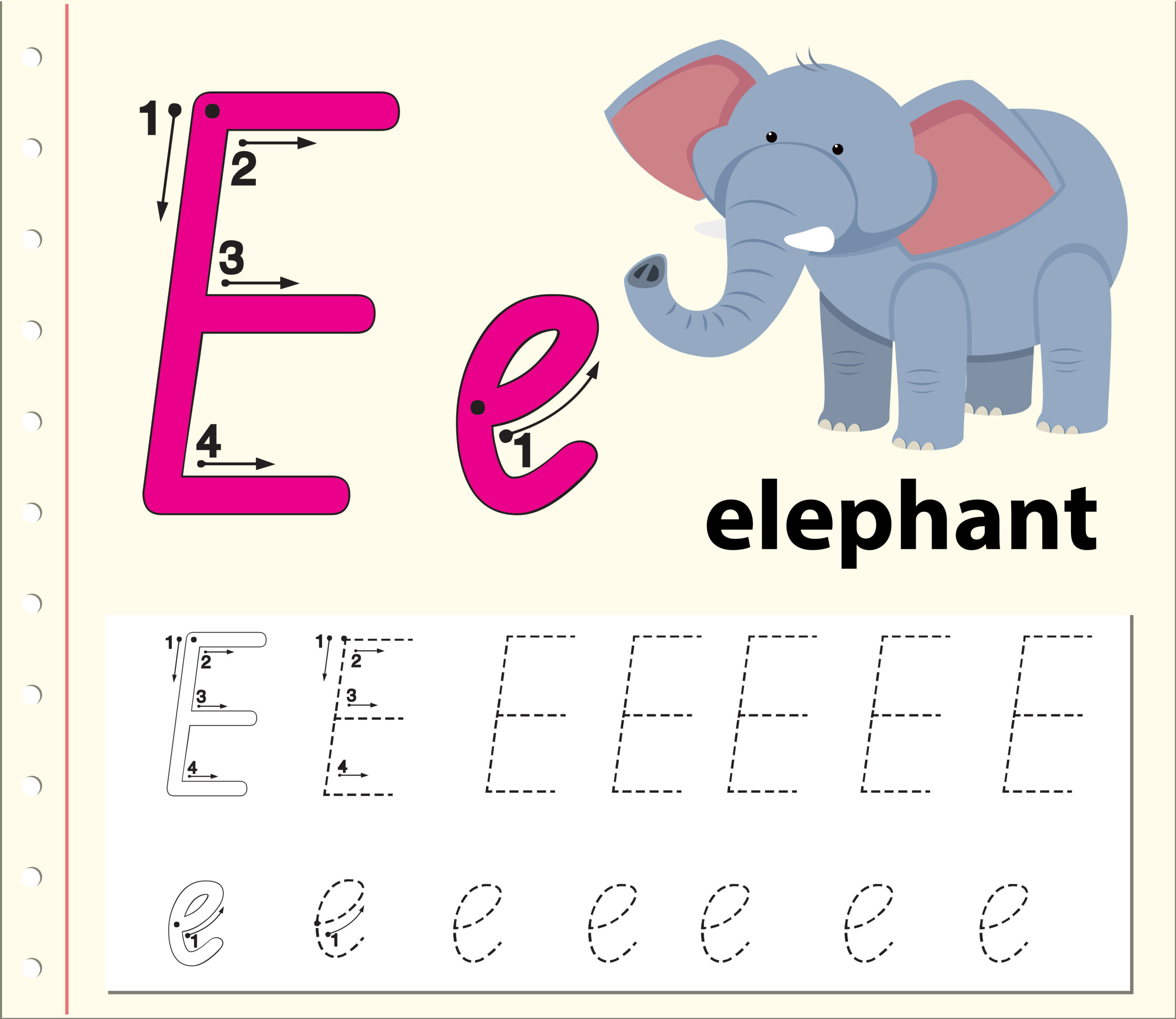 Letter E Tracing Alphabet Worksheets - Download Free Vectors with regard to Alphabet Tracing Letter E