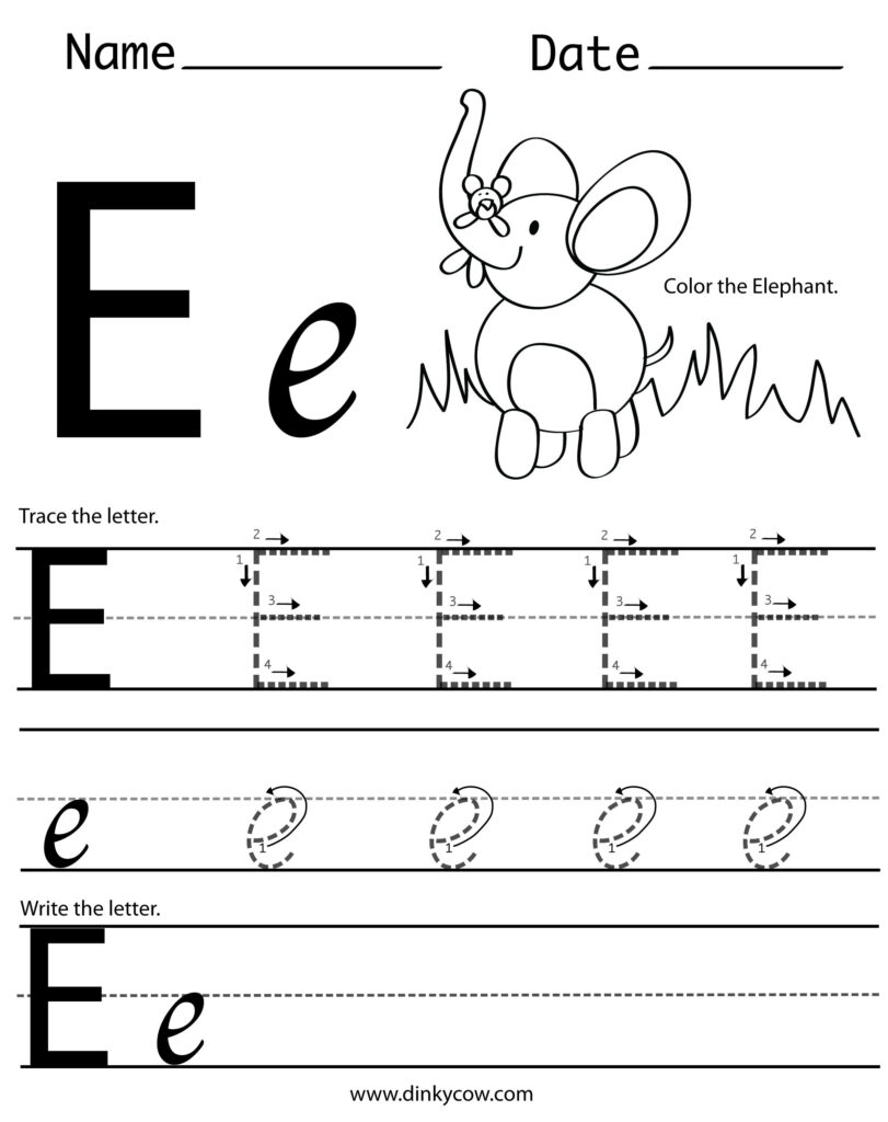 Letter E Tracing Worksheets Pertaining To E Letter Tracing Worksheet