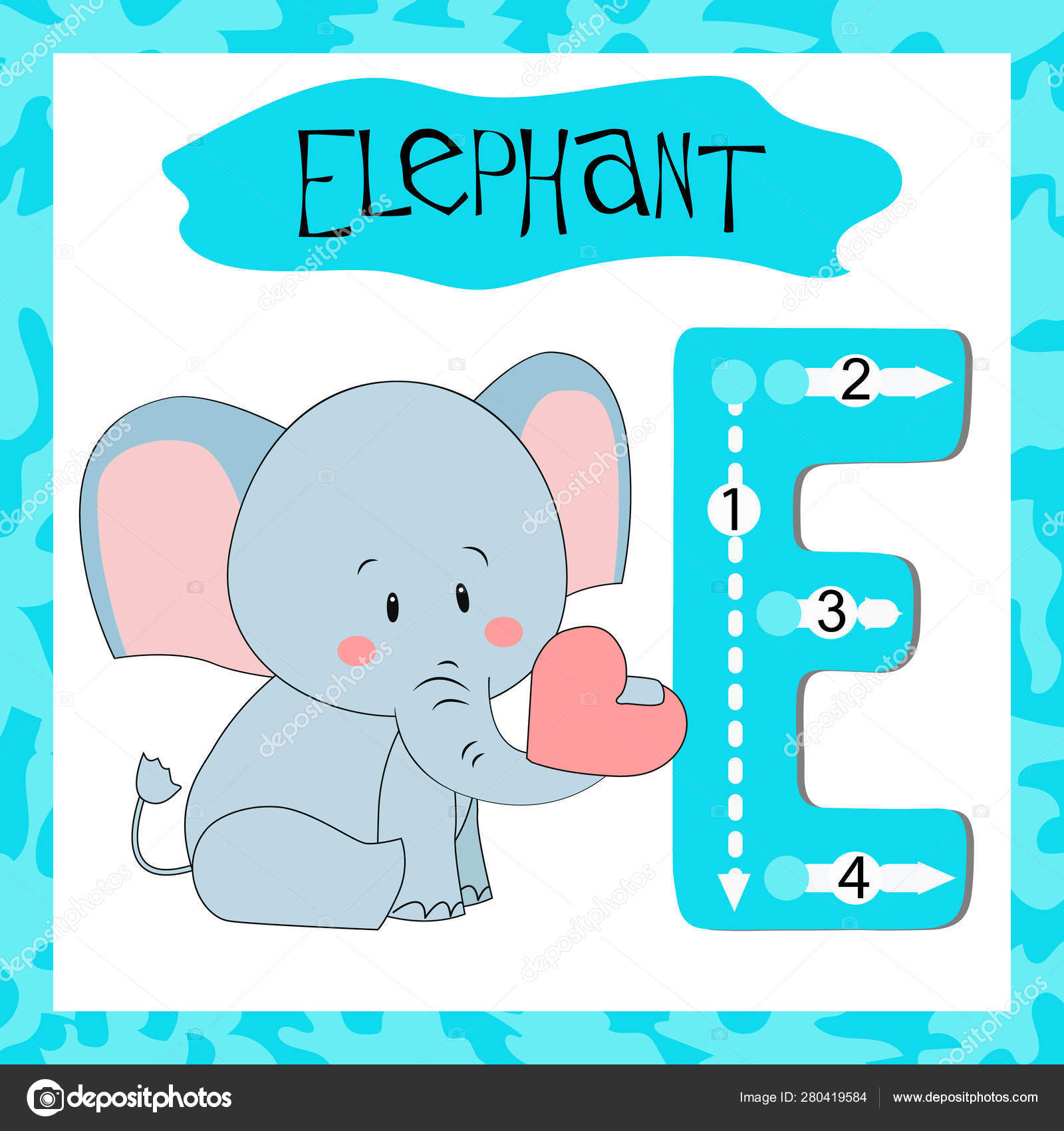 Letter E Uppercase Cute Children Colorful Zoo And Animals Abc Alphabet  Tracing Flashcard Of Elephant For Kids Learning English Vocabulary And inside Alphabet Tracing Flashcards