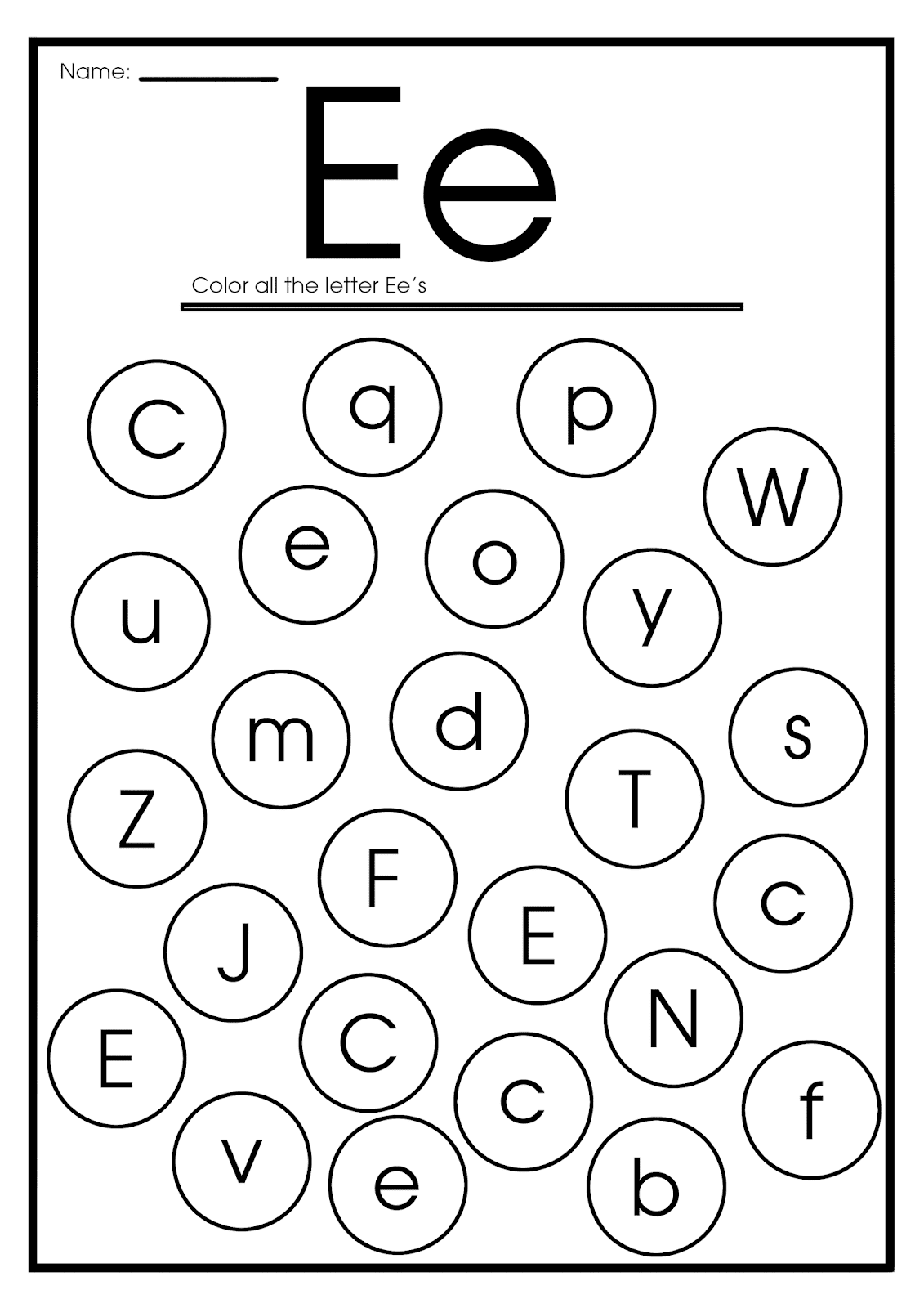 Letter E Worksheets, Flash Cards, Coloring Pages pertaining to Letter E Worksheets Printable