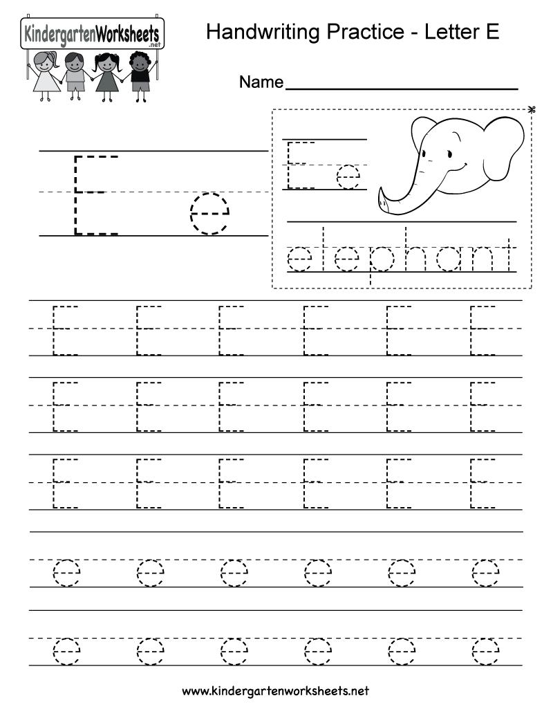 Letter E Writing Practice Worksheet - Free Kindergarten regarding Letter E Worksheets Printable