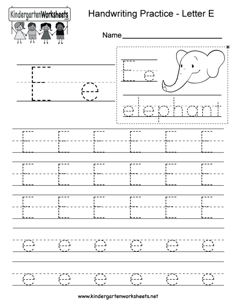 Letter E Writing Practice Worksheet   Free Kindergarten Throughout Letter E Tracing Worksheets