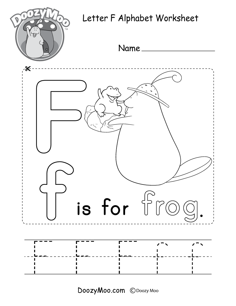 Letter F Alphabet Activity Worksheet - Doozy Moo pertaining to Letter F Worksheets For Kindergarten Pdf