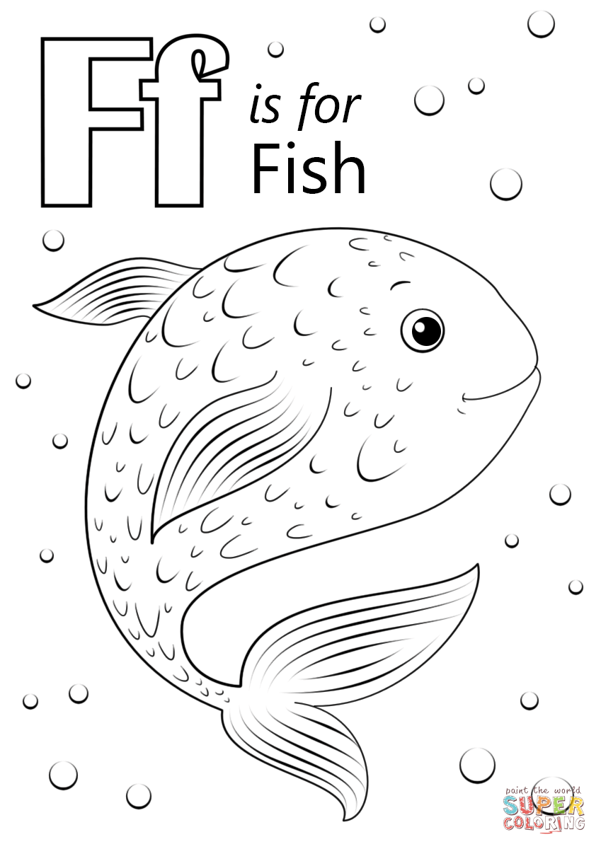 Letter F Is For Fish Coloring Page | Free Printable Coloring pertaining to Letter F Worksheets Coloring Page