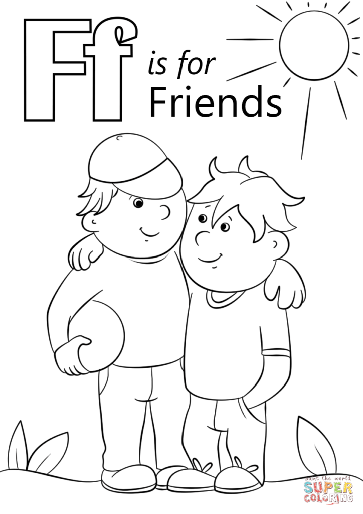 Letter F Is For Friends Coloring Page From Letter F Category Intended For Letter F Worksheets Coloring Page