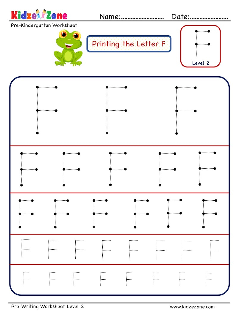 Letter F Tracing Worksheet - Different Sizes - Kidzezone