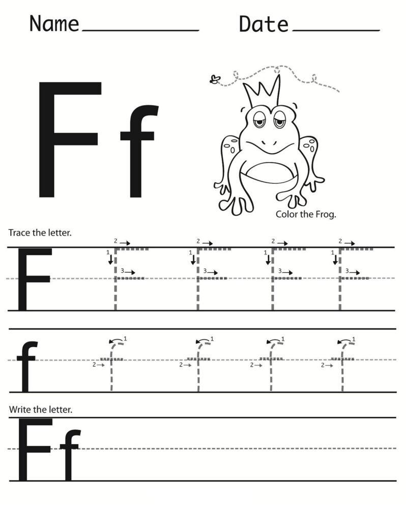 Letter F Worksheet For Preschool And Kindergarten For Letter F Tracing Printable