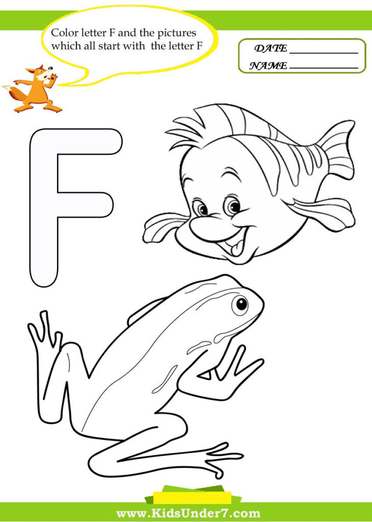 Letter F Worksheets And Coloring Pages | Alphabet Coloring For Letter F Worksheets Coloring Page