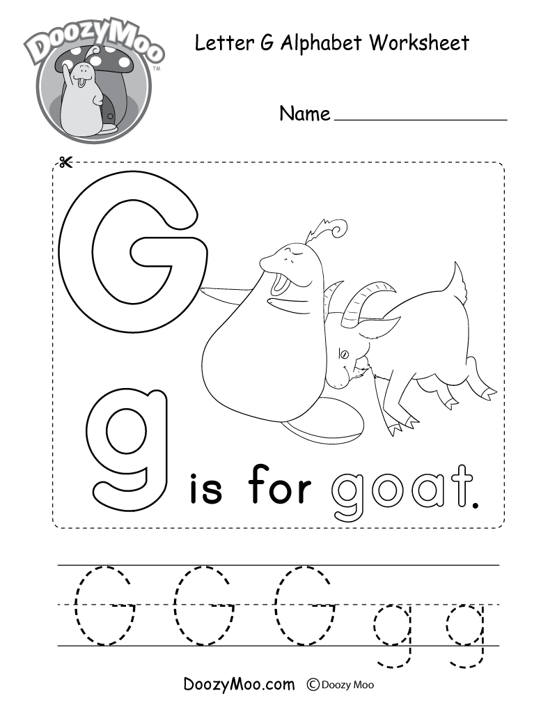 Letter G Alphabet Activity Worksheet - Doozy Moo pertaining to G Letter Worksheets