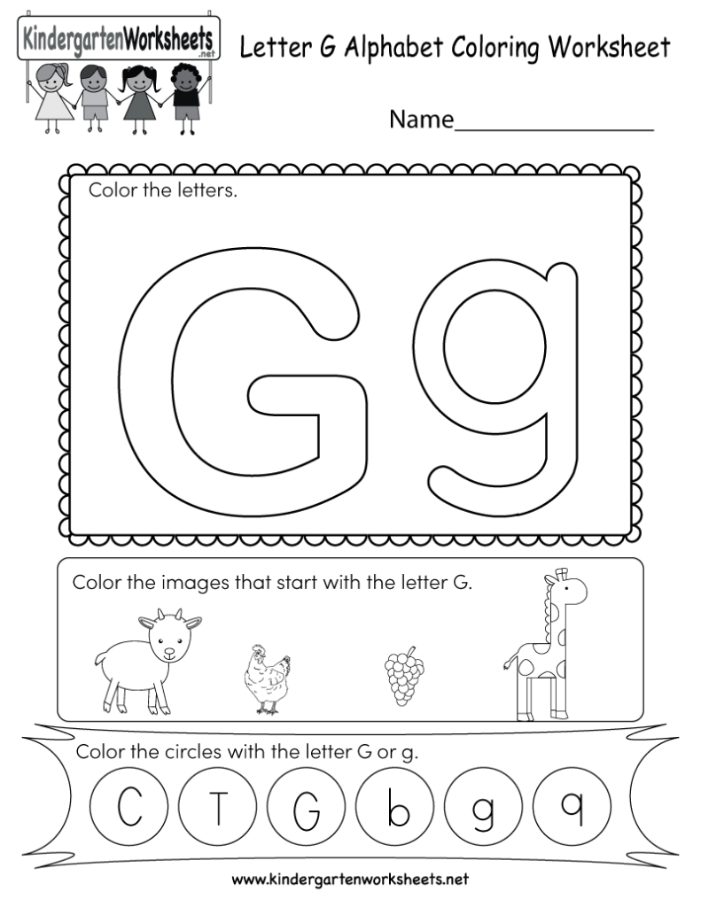 Letter G Coloring Worksheet   Free Kindergarten English Throughout G Letter Worksheets