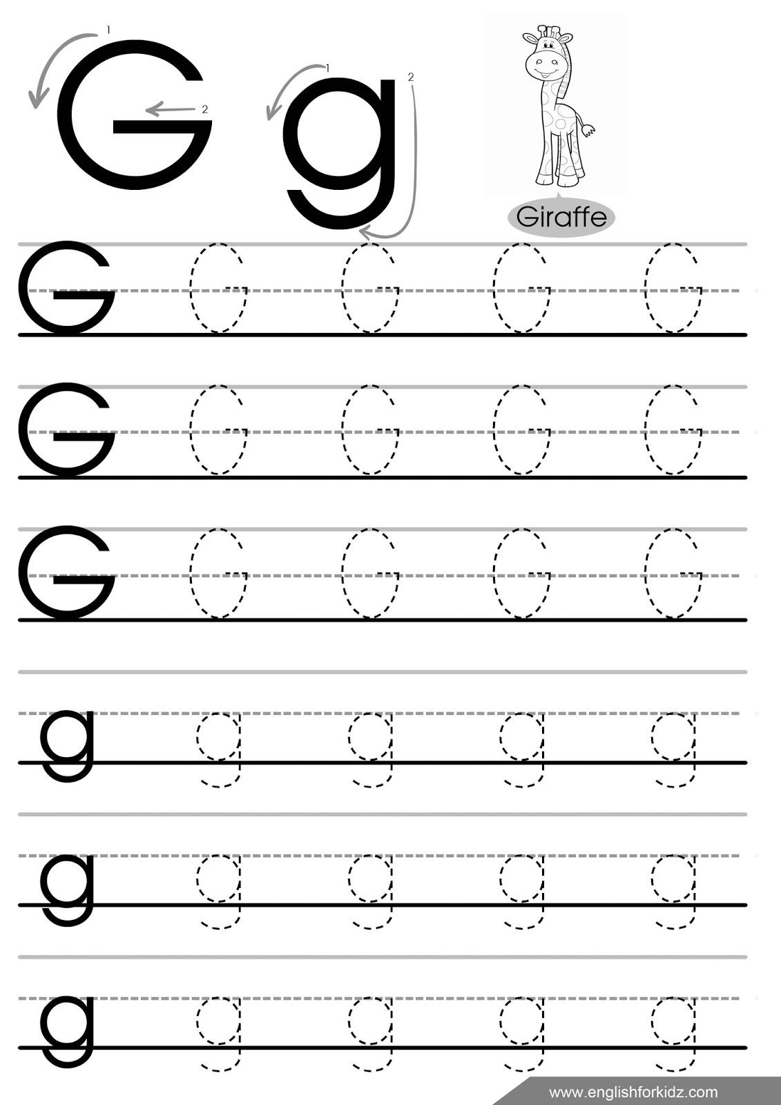Letter G Worksheets, Flash Cards, Coloring Pages regarding Letter G Tracing Printable