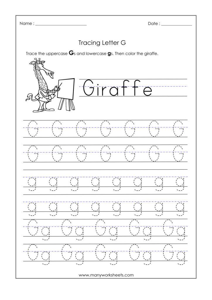 Letter G Worksheets For Kindergarten – Trace Dotted Letters