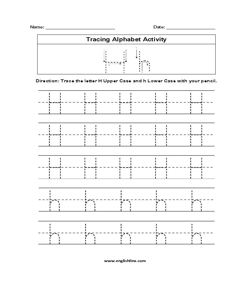 Letter H Tracing Alphabet Worksheets | Alphabet Worksheets inside Letter H Tracing Sheet