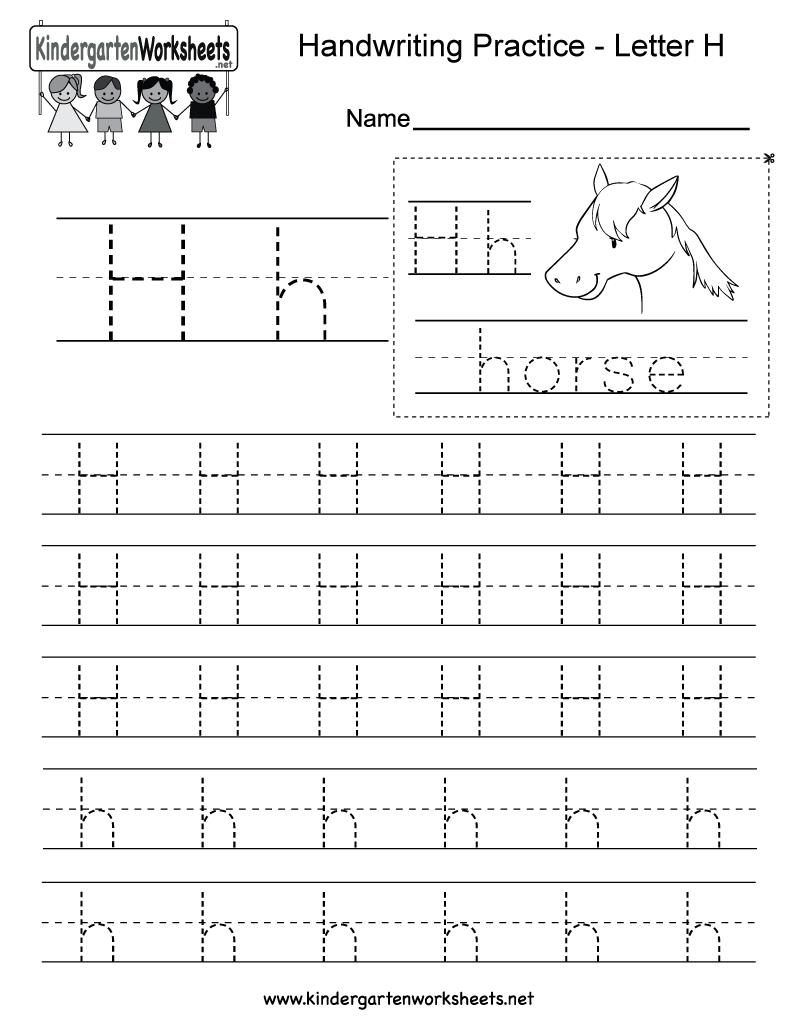 Letter H Writing Practice Worksheet - Free Kindergarten inside Letter H Alphabet Worksheets