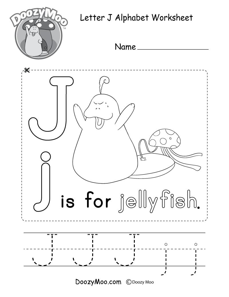 Letter J Alphabet Activity Worksheet - Doozy Moo in Letter J Worksheets Pdf