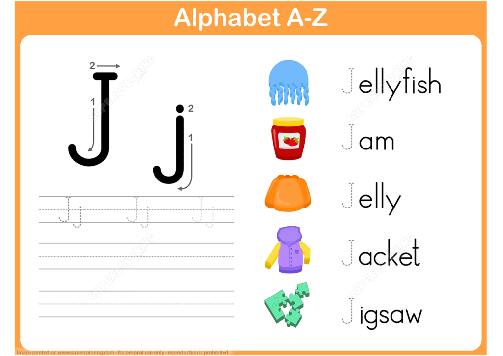 Letter J Tracing Worksheet   Free Printable Puzzle Games Pertaining To Alphabet Tracing Letter J