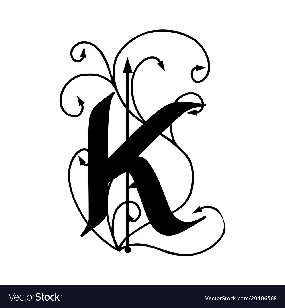 Letter K With Arrows