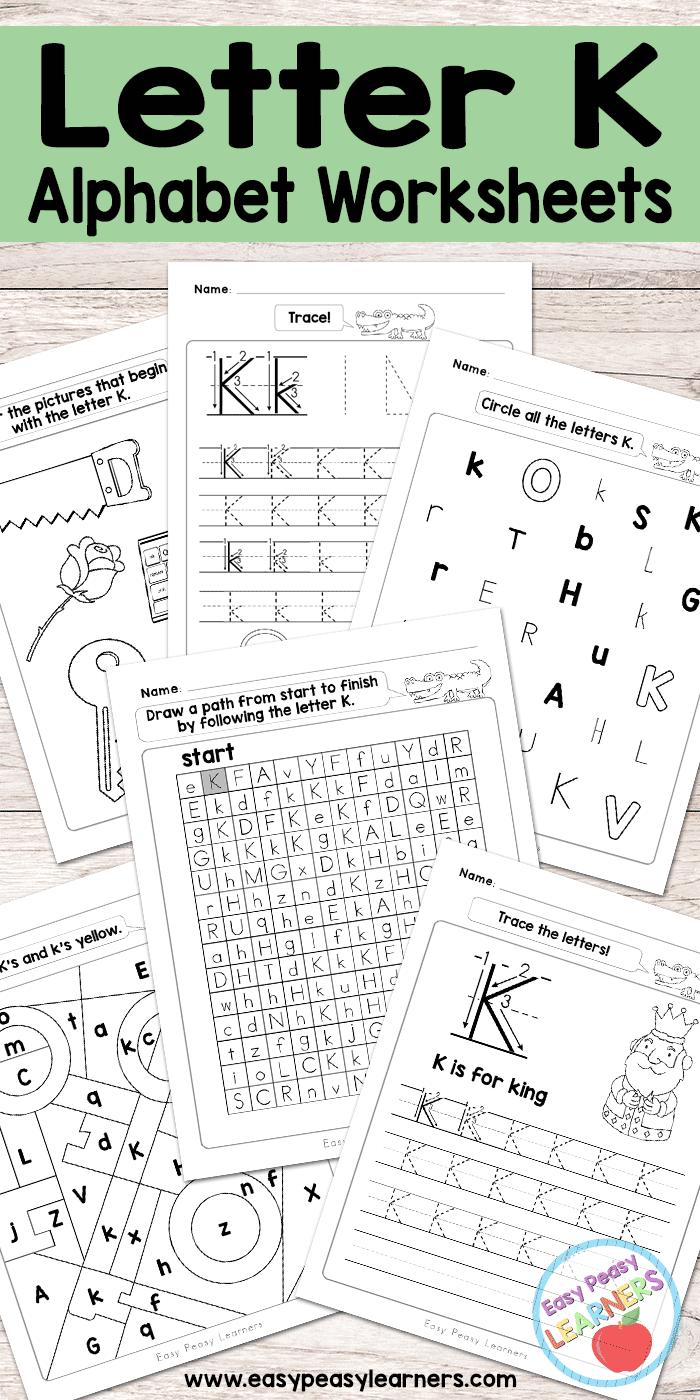 Letter K Worksheets - Alphabet Series - Easy Peasy Learners for Alphabet Worksheets For Young Learners